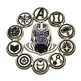 Marvel Avengers Endgame Thanos & Avengers Logos Pin Set