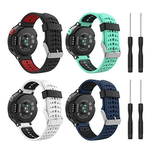 MoKo (4PCS Correa para Garmin Forerunner 235, 4 Piezas de Banda de Reemplazo de Suave Silicona para Garmin Forerunner 235/220 / 230/620 / 630/735 Smart Watch, Multicolcor A