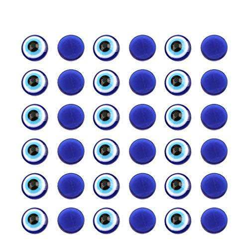 EXCEART Cuentas de ojo malvado de resina de 8 mm, cabujón redondo plano, juguete para manualidades, colgantes, álbumes de recortes, fabricación de joyas, 100 unidades, color azul