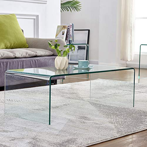 Glass Coffee Table for Living Room Tempered Glass Modern Coffee Table...