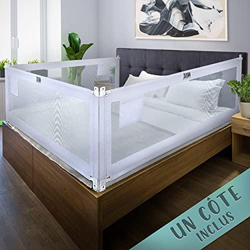 Barrière de lit Kids Supply [150x80 cm] - Barrière de lit extrêmement sûre et réglable en hauteur [70-90 cm] - Protection contre les chutes pour le lit de l'enfant et le lit des parents