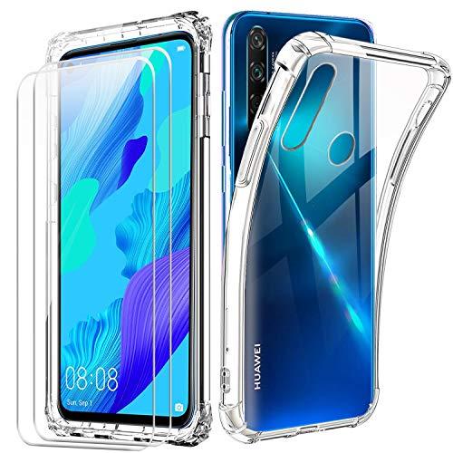 Reshias Funda para Huawei Nova 5T con Dos Cristal Templado Protector de Pantalla,Suave TPU Transparente Gel Silicona Anti Caída Protectora Carcasa para Huawei Nova 5T / Honor 20 (6.26 Pulgadas)