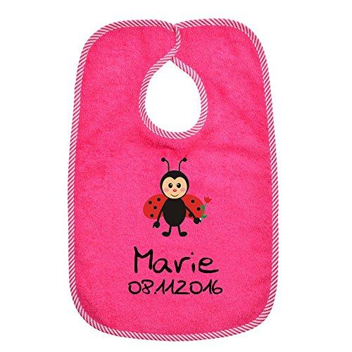 Klettverschluss Lätzchen WOLIMBO mit Namen und Motiv - Farbe: pink 0138 - Das individuelle Frottee Lätzchen für Mädchen und Jungs