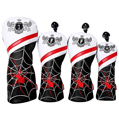 LONGCHAO Golf Head Covers PU Leather Vintage Design Golf Club Headcover Set 4 pcs with Numbered for 1 2 3 4 5 6 7 X UT Driver/Hybrid/Fairway Wood