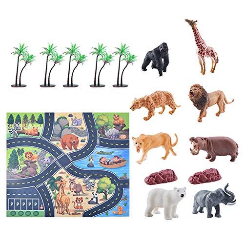 jingjing 2021 Nuevo regalo – 12 piezas de simulación de escena, modelo de animales marinos, juego de mapas de dinosaurios (E)