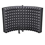 Portable 2 Fold Design Microphone Isolation Shield Studio Foam Panel with ebook