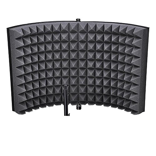 Portable 2 Fold Design Microphone Isolation Shield Studio Foam Panel with ebook