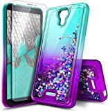 E-Began Phone Case for BLU Wiko Ride (W-U300), AT&T Radiant Core (U304A)/Cricket Icon with Tempered Glass Screen Protector, Glitter Liquid Floating Waterfall Durable Girls Cute Case -Aqua/Purple
