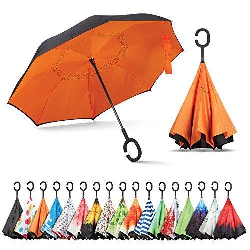 Sharpty Inverted Umbrella, Umbrella Windproof, Reverse Umbrella, Umbrellas for Women, Upside Down Umbrella with C-Shaped Handle (Orange)