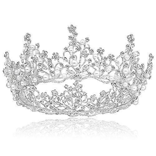 Coucoland Diadème de mariage en strass - Couronne de mariée - Diadème de princesse décoré avec des perles - Couronne d'anniversaire pour femme - Accessoire de déguisement - Argenté - Taille Unique