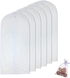 Hanging Garment Bag for Storage 24'' x 48'' Travel Long Suit Bag Sturdy Zipper Moth Proof Clothing Bag Pack of 6 with Moth Cedar Balls