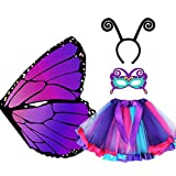 D.Q.Z Kids Fairy Butterfly Wings Costumes for Girls, 4Pcs Butterfly Dress Up with Tutu Antenna Mask Cosplay Party (Purple)