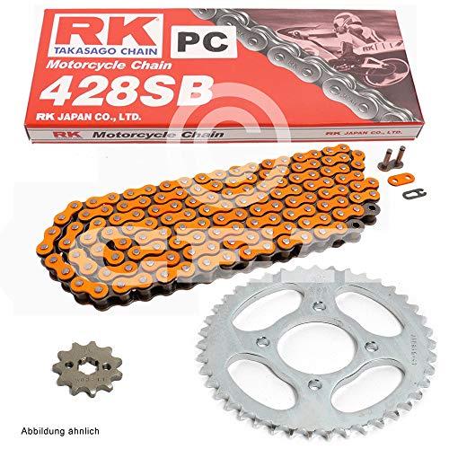 Kettensatz geeignet für Yamaha YZF R125 08-18 Kette RK PC 428 SB 132 offen ORANGE 14/48