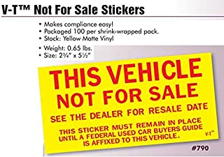 Car Dealer This Vehicle Not For Sale Stickers