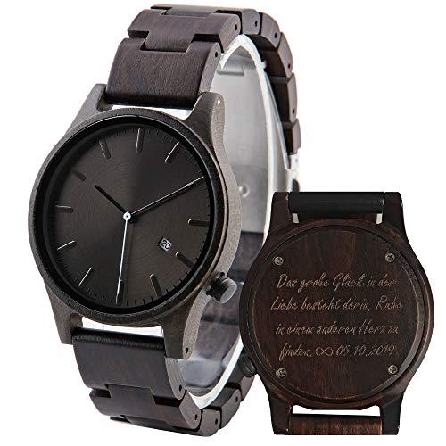 Hölzerne Uhr graviert personalisierte Uhr für Männer, Ebenholz Holz Armbanduhr, Geburtstagsgeschenk für Ehemann, Geschenk für Sohn von Eltern