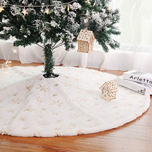Rechoo 31-inch Plush Christmas Tree Skirt with Round Trim for Xmas Holiday Decoration - White (31 inch Gold Snow)