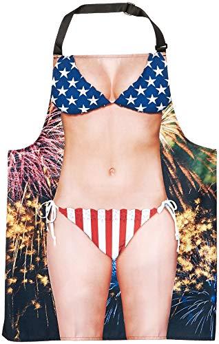 Faux Real Women's Funny Realistic Sublimated Apron, Ladies Americana, One Size