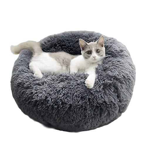 BingoPaw Cama Perros Redonda, Cama Felpa Donut para Mascotas, Sofá Suave para Perros Gatos, Cama Nido Cálida para Cachorros en Invierno, Diámetro 60cm Color Gris
