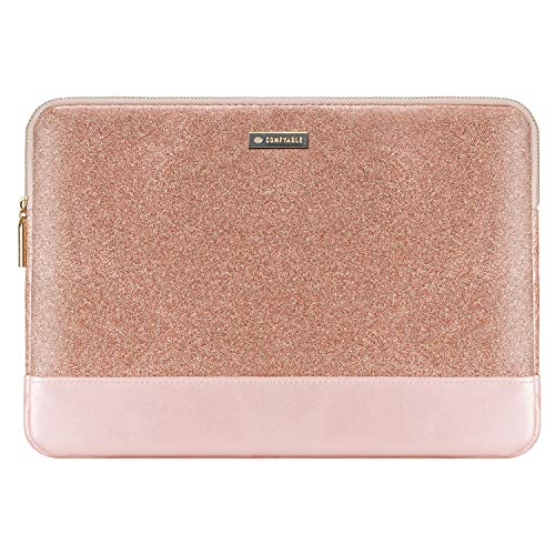 Comfyable Laptop Sleeve Compatible with 13-13.3 Inch MacBook Air & MacBook Pro, Waterproof Protective Padded Computer Mac Cover Case for Women, Rose Pink Gold Glitter & Metallic Pink