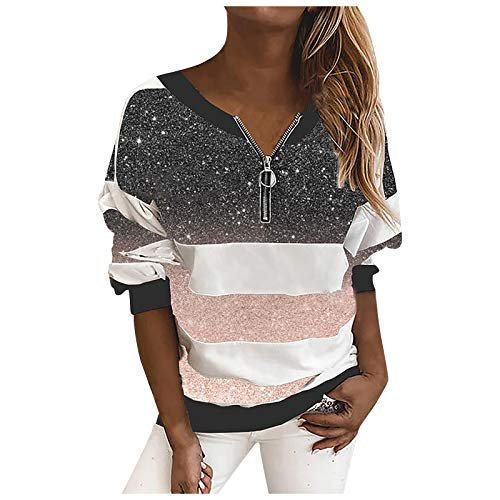 Xmiral Pullover Damen Sternenhimmel Gedruckt Gestreifte Langarm-Reißverschluss T-Shirt Bluse mit V-Ausschnitt(Rosa,M)