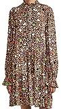Essentiel Antwerp Women's Zex Ruffled Collar Dress, Combo1 Tacos, Print, Brown, 40