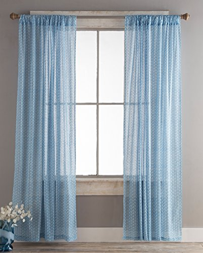 North End Decor Lace Panels Set of 2 (Each 54x84), Blue Eyelet Curtains