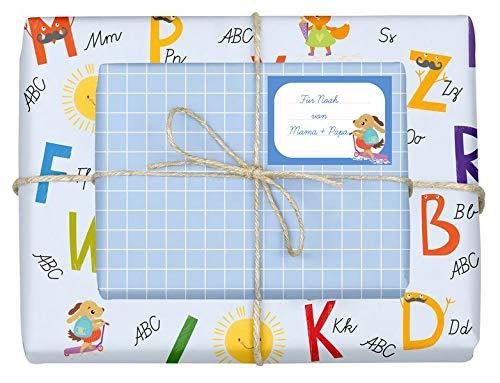 Geschenkpapier-Set für Kinder: Einschulung (für Jungen): 4x Einzelbögen + 4x Schulheft-Etiketten
