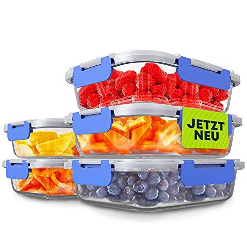 Goldhofer® Glasbehälter mit Deckel | luftdicht & BPA-frei | ideal als Meal Prep Boxen, Glas Frischhaltedosen für Obst & Gemüse oder als nachhaltiger Einfrierbehälter