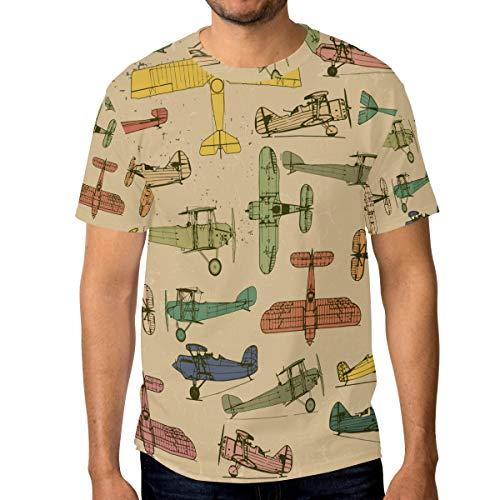 DEZIRO - Camiseta de Manga Corta para Hombre, diseño de Aviones, Pintado a Mano 1 3XL