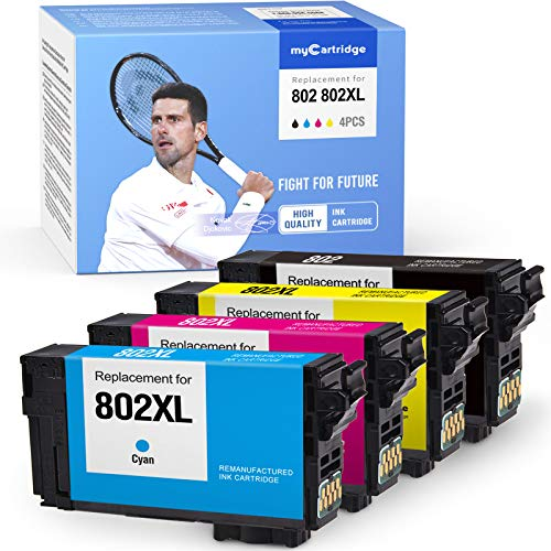 MYCARTRIDGE Remanufactured Ink Cartridges Replacement for Epson 802 802XL use with Workforce Pro EC-4020 EC-4030 EC-4040 WF-4720 WF-4730 WF-4740 (Black Cyan Magenta Yellow,4-Pack)