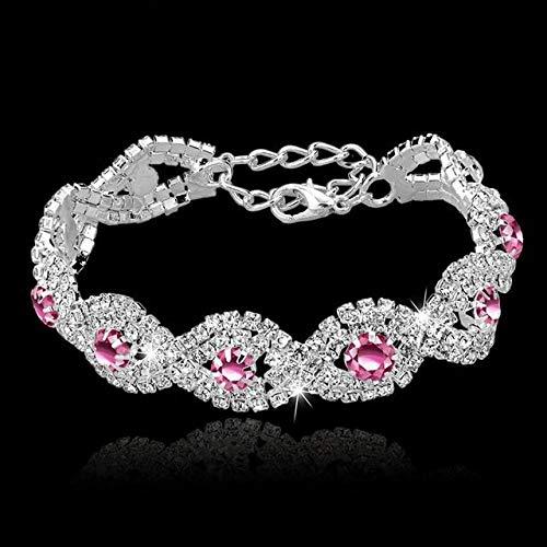 lonfenner Kristall Armreif,Kristall Armband, Frauen Stein Silber Armband Armreif Silber Rosa Türkischen Stil Schmuck Armband, Party Geschenke