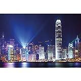 GREAT ART® Póster – Hong Kong – Mega City por la noche Sightseeing ciudades de noche luces de ciudades metrópolis, skyline China Millionciudad, decoración de pared DIN A2 (42 x 59,4 cm)