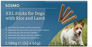 Marca Amazon - Solimo -Treats para perros: cordero y arroz, stick dentales sin aromatizantes artificiales (32 piezas x 65 gr)