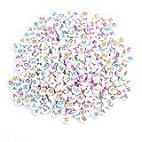 500 cuentas redondas de 7 colores acrílicos con letra A-Z con alfabeto y perlas para manualidades, collar para niños, juguetes hechos a mano