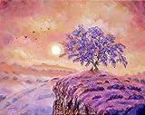 ganlanshu Hermoso Arte de Lienzo de árbol púrpura Impresiones en Lienzo Arte de Pared para Dormitorio Sala de Estar-Pintura sin marco80x105cm