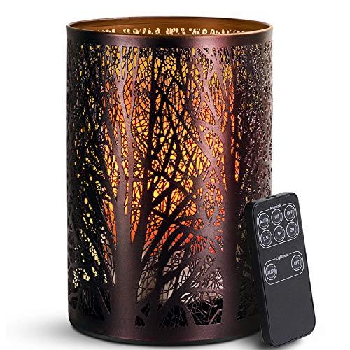 SALKING Aroma Diffuser, 3 in 1 Kerzenlicht Diffusor mit Fernbedienung, Metall Wald Diffusor für ätherische Öle, Automatisch Power-Off, Kerzenlichteffekt und Aromatherapie für Zuhause Oder Yoga MEHRWEG