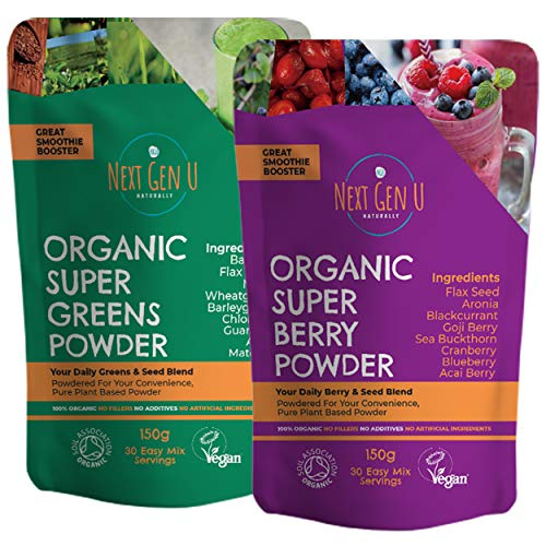 Next Gen U | Organic Super Greens & Berry Powder | Ultimate Immune Support Combo | Featured in The Vegan Magazine | Super Smoothie Supplement | Save £5!