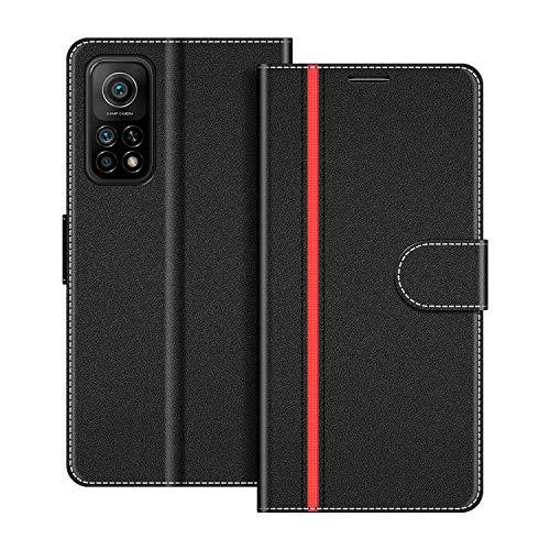 COODIO Handyhülle für Xiaomi Mi 10T Handy Hülle, Xiaomi Mi 10T Hülle Leder Handytasche für Xiaomi Mi 10T / Mi 10T Pro Klapphülle Tasche, Schwarz/Rot