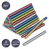 TROTEC Confezione di stick di colla a caldo glitter, 50 pezzi (Ø 11 mm) - Per incollare e decorare legno, plastica, tessuti, cartone, carta, ceramica, pelle, sughero, vetro e metallo