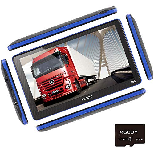 Xgody 886 Truck GPS Navigation System with 8GB SD Card Sunshade 7 Inch Spoken Turn-By-Turn Directions Speed Limit Displays Capacitive Touch Screen SAT Navigator with US Lifetime Maps Updated