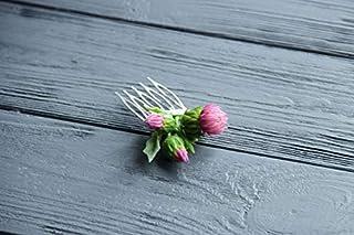 scottish thistle jewellery flower comb polymer clay pink greenbride green headband folk scottishthistle