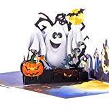 ENJOYPRO Halloween Cards, 3D Pop Up Witch Ghost Halloween Greeting Cards, Handmade Happy Halloween Cards for Kids Boyfriend Girlfriend (3D Ghost, Pack of 1)