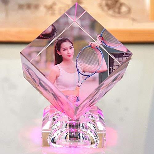 Top WHY Personalizado Grabado láser 3D Personalizado Foto Cubo de Cristal Cristal Personalizado Cubo de Rubik Cubo 3D Cristal Led Luces Grabado Cubo de Fotos Retrato Regalos para Aniversario