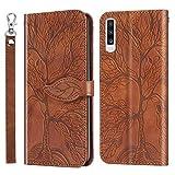 Tedtik Compatible con Funda Samsung Galaxy A70 2019, Funda Samsung A70 [Vintage Case] Ranuras para Tarjetas con Función de Soporte [The Tree of Life en Relieve], Marrón