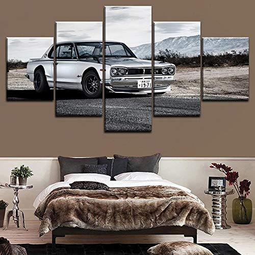 5 Stück Nissa Skyline Gtr Auto Poster Moderne Wandkunst Dekorative Modulare Bild Leinwand HD Gedruckte One Set Gemälde + 5 Stück Auto Poster fahren auf Bergstraßen Moderne Wandkunst Dekoration Mo