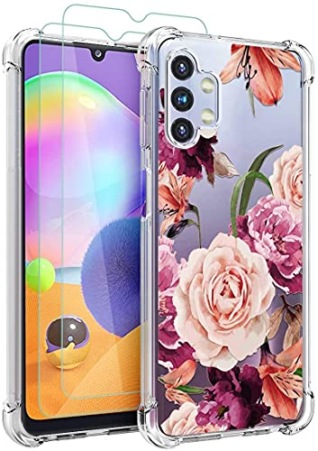 Osophter for Galaxy A32 5G Case with Screen Protector Flower Floral for Girls Women Shock-Absorption Flexible TPU Rubber Phone Cover for Samsung Galaxy A32 5G(Purple Flower)