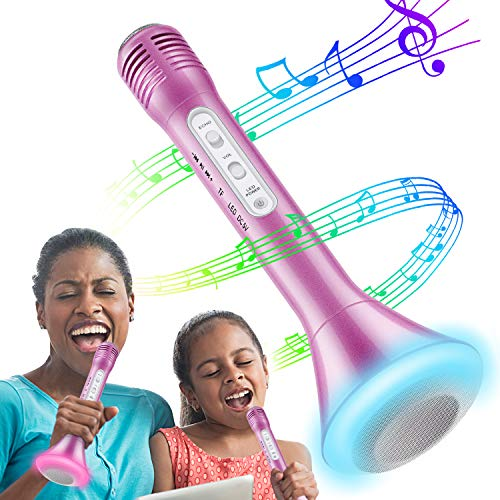 Tencoz Kids Microphone, Wireless Bluetooth Karaoke Microphone with Controllable LED Lights, Portable Handheld Karaoke Speaker Machine Gift Birthday Home Party for 4+ Years Old Teens Girl Boys