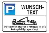 Parkplatzschild - WUNSCHTEXT - Alu-Dibond 300x200 mm - für Garage, Hotel, Parkplatz, Schule, Carport, Firma
