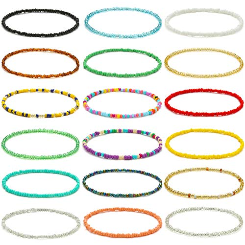 XIJIN 18 Pieces Elastic Beaded Anklets for Women Girls Handmade Beach Boho Colorful Beads Ankle Bracelets Set