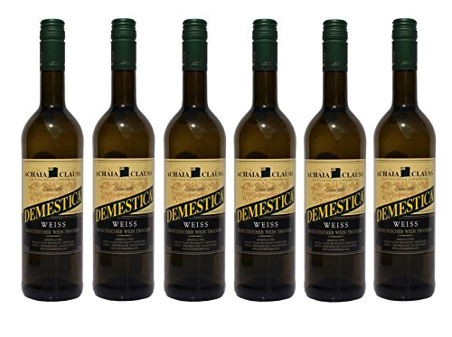 6x Demestica je 750 ml griechischer Weißwein trocken Achaia Clauss 12% + 2 Probier Sachets Olivenöl aus Kreta a 10 ml - griechischer weißer Wein Tafelwein
